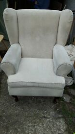 Cream wing back chair