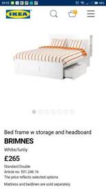 Ikea Brimnes bed frame with storage and headboard