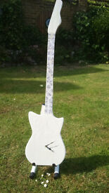 Totally individual mahogany guitar wall clock, shabby chic chalk white, finger chart decoupage neck