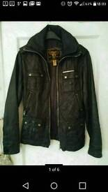 Superdry real black leather jacket.new.small.size 8-12