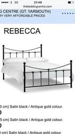 Rebecca black and Bronze metal bed frame