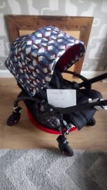 Bugaboo bee 5 black chassis waves hood NOW WITH A CHOICE OF COLOUR HOODS