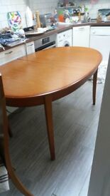 G-Plan(?) extending dining table, seats 6-8 people