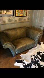 Leather Love Seat, Excellent Condition, Green/Olive with mahogany feet