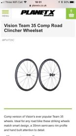 Vision team 35 clincher wheelset bicycle Planet X BRAND NEW