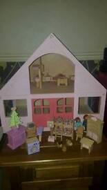 Wooden dolls house plus furniture