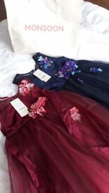 2 new with tags Monsoon girls dresses size 9 yrs (deep red) and 12-13yrs (navy) £25 each