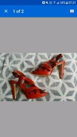 Kurt Geiger Red Heels Platforms Sandals 6