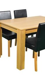 Wooden table + 4 brown leather chairs