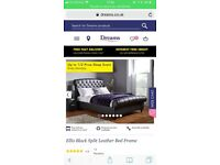 Dreams King size leather sleigh bed black (like brand new been in a spare room)