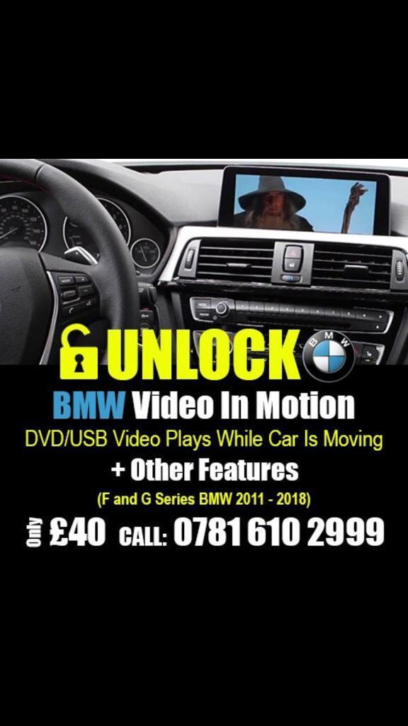 Bmw Mini Video in Motion Coding Unlock Features DVD TV CD USB Activation F  and G series 2010 - 2018 | in Balsall Heath, West Midlands | Gumtree