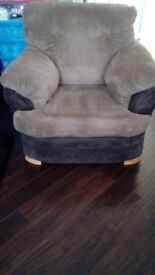 Chocolate brown and beige cord sofa