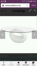 White glass table