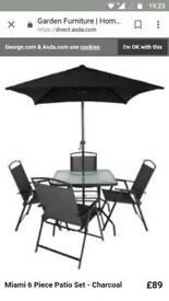 Set six. Garden table, chairs and umbrella
