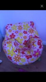 Kids flower bean bag chair