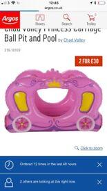 Girls princess carriage ball pit/paddling pool