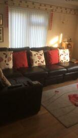 Leather sofa black, corner