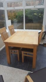 Wooden table and chair extendable