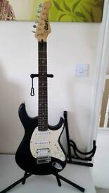 Cort Guitar in matt black, with amplifier,leather case,guitar stand