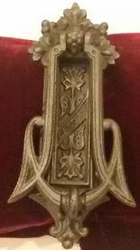Door-knocker with built in letter-box: antique Victorian cast iron