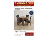 Rustic Solid Oak Dining Set - 3ft Extending Table + 4 Charcoal Chairs £450