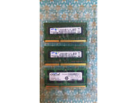 2 x 1GB & 4GB DDR3 SODIMM Laptop RAM