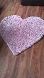 pink girls heart rug