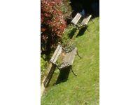 Two Cast Iron Garden Benches