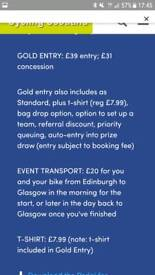 2x GOLD entry to charity cycle event 9/09 Glasgow to Edinburgh transport back to Glasgow included