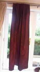 Deep Red Satin Taffeta Curtains