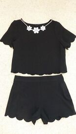 Girls party black top & shorts set age 7-8 years