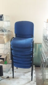 BLUE METAL FRAMED OFFICE CHAIRS x8