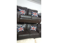 2 X 2 SEATER CHUNKY BROWN LEATHER SOFAS ULTIMATE COMFORT AND MODERN VIEWING WELCOME