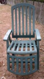 Green recliner garden chair