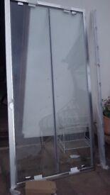 Huppe Glass Shower Door with two way swing doors - BRAND NEW.