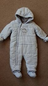 Mothercare baby boys pramsuit snowsuit age 3 - 6 months. Little Dino. Hardly Worn