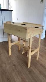 Children's school desk & stool handmade with pine wood