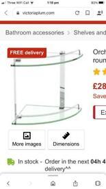 Brand new glass corner shelf