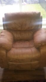 manual recliner chair brown suede