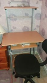 Beech computer desk and black office chair. Both very good condition and hardly used.