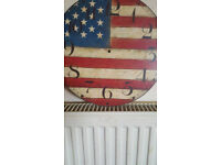 Wall Clock Stars and Stripes/USA handpainted 28cm, only the plate of the Wall Clock
