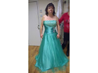 Size 18 Prom style or wedding sparkly dress. NEW. Mint Green. Sequin & Beads. Lace up back.