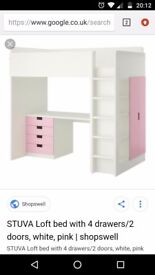 High rise bunk bed