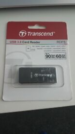 Transcend SD/MicroSD USB 3.0 Card Reader – Black – Brand New
