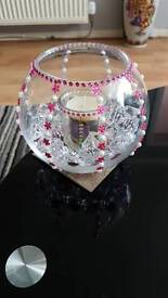 Jewelled Glass Bowl With Candle