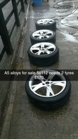 "A5 alloys 18"" needs 2 tyres 2 good with camber wear"