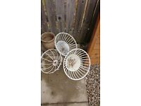 3, metal garden hanging baskets painted white