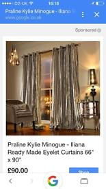 Kylie minogue oyster curtains. 66 by 72. Velvet ex con £45