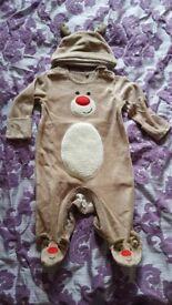 TU Xmas Reindeer Sleepsuit and hat- 0-3 months