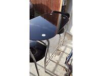 Black Glass kitchen table & 2 chairs
